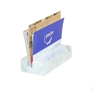 Lieomo White Marble Business Card Holder Office Desk Id Credit Card