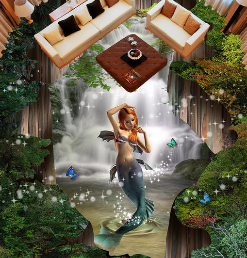 3D Girl Ocean 677 Floor WallPaper Murals Wallpaper Mural Print AJ AU Lemon