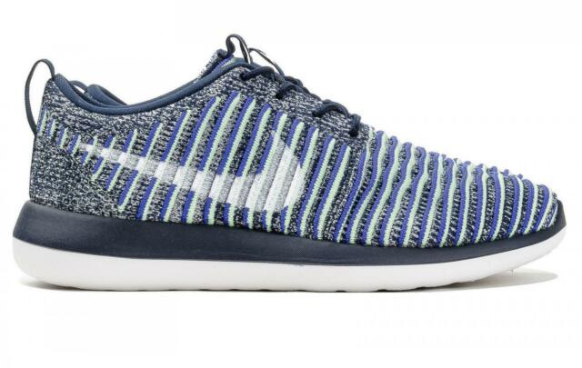Womens NIKE ROSHE TWO FLYKNIT College Navy Running Trainers 844929 401