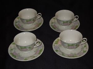 Gibson-Housewares-Morning-Glory-Pink-Flower-4-Tea-Cups-and-4-Saucers