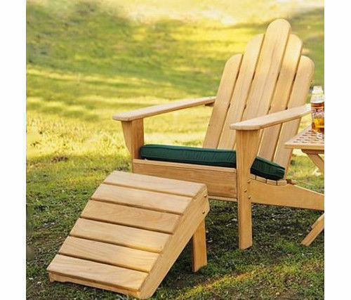 Grade A Teak Wood Adirondack Chair W/ Footrest Stool Ottoman Outdoor Garden  | EBay