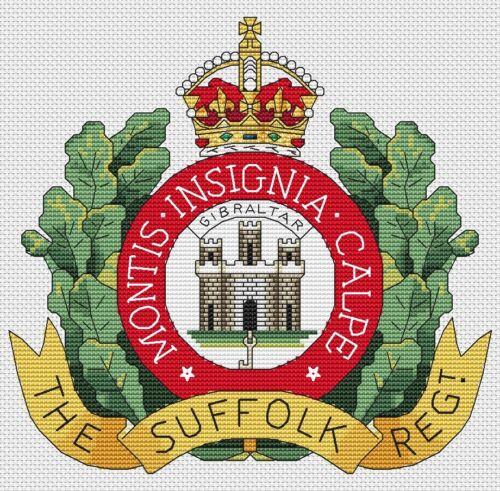 "8x8/"", 20x20cm, kit or chart Suffolk Regiment Army Cross Stitch Design"