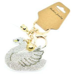 Pave-Crystal-Accent-3D-Stuffed-Pillow-Swan-2-5-034-Keychain-Key-Chain-New-with-Tag