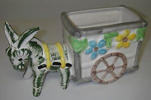 "Made in Japan Art POTTERY Ceramic Planter Donkey pulling Wagon Cart 9""`long"