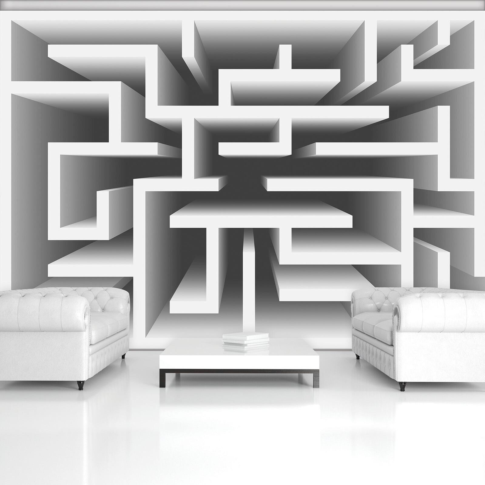 Photo Wallpaper Mural Non-woven 20167_VEN 3D Labyrinth Abstraction grau Labyrint