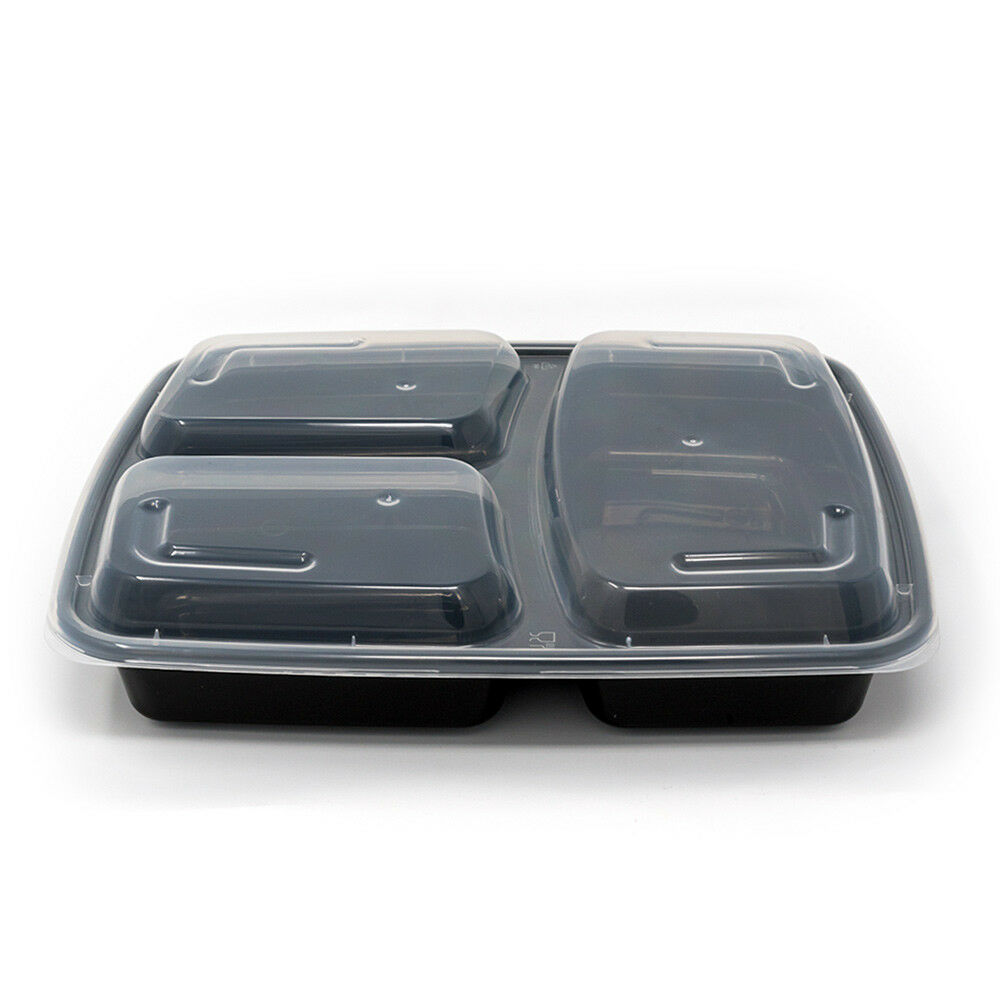 150 Meal Prep Containers 3 Compartment Plastic Food Storage Reusable