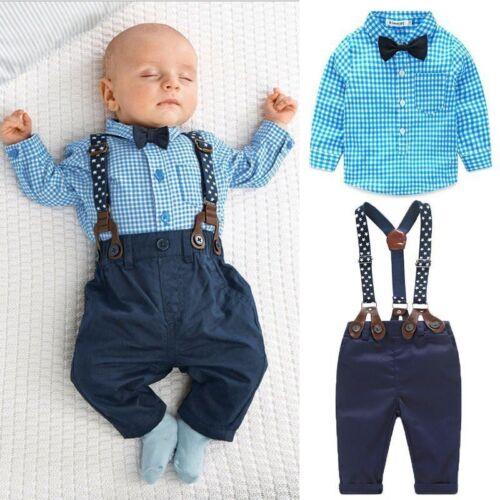 Jungen Kinder Baby kariert T Shirt Top Hemd Hose Mit Hosenträger Smoking Anzüge