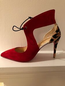 102eaf27eb90 Image is loading Christian-Louboutin-Ferme-Rouge-Red-Suede-Leopard-Self-