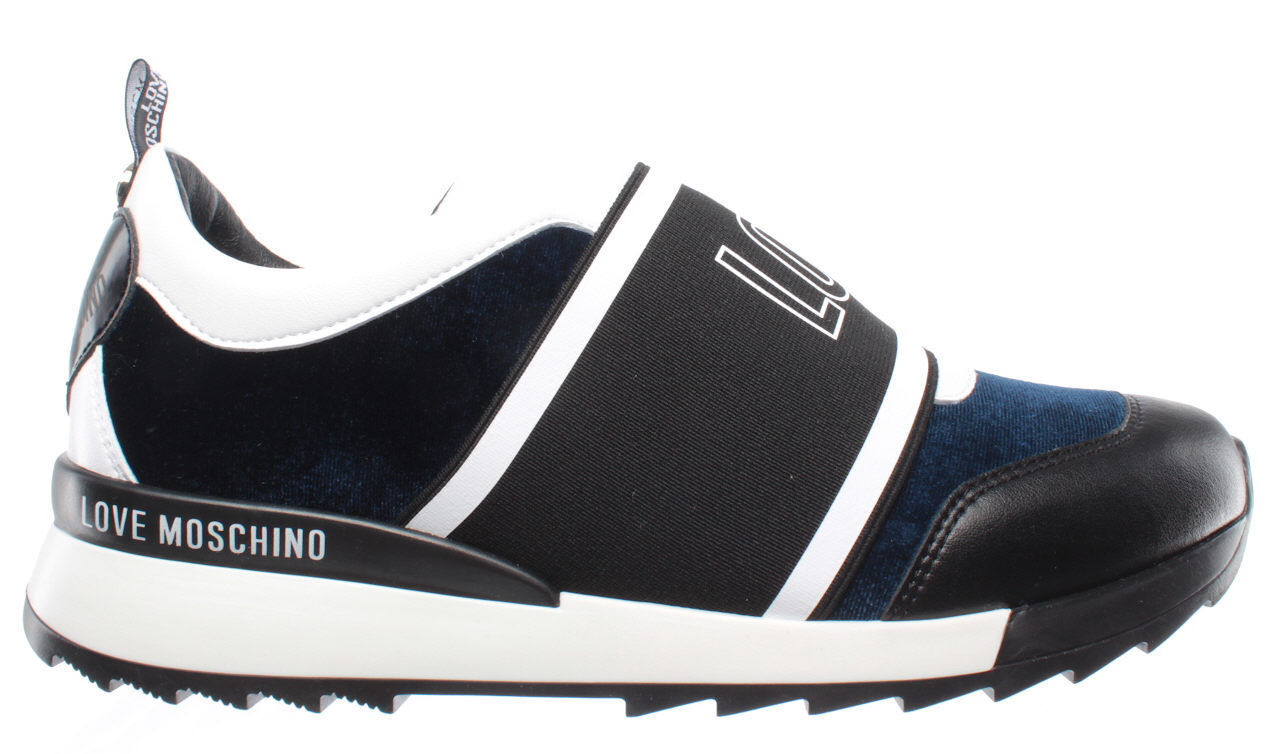 LOVE MOSCHINO Sneakers Donna Scarpa Blu D Running 25 Velluto Blu Scarpa Made In Italy Nuove 0f199f