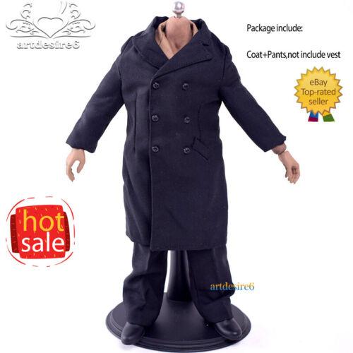 """1:6 SECONDA GUERRA MONDIALE comune persone civili Nero Lana Cappotto Pantaloni Set per 12/"""" Figure"""