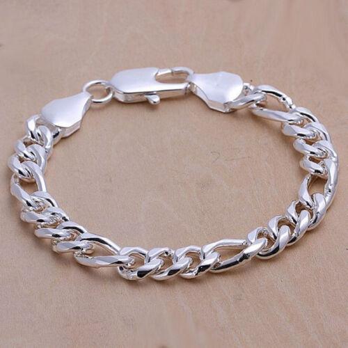 """Cool Argent épais 3 Space 1 Hommes Chaîne Bracelet 10 mm 8/"""" GH097"""