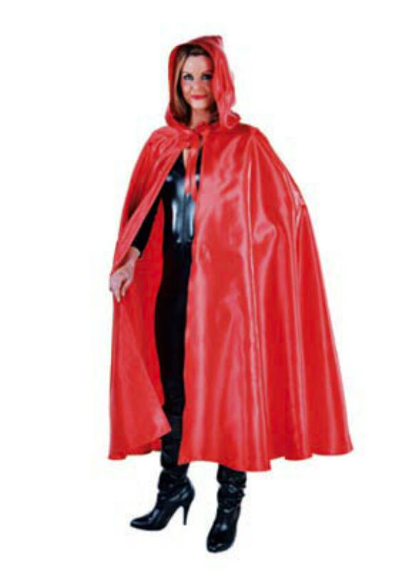 Deluxe Red Satin Hooded Cloak/Cape - Red Riding Hood