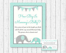 Mint Green & Grey Chevron Elephant How Big Is Mommys Belly Baby Shower Game