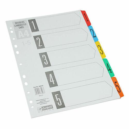 mit laminiertem Index Ordnerregister Register Karton m Zahlenregister 1-5 A4