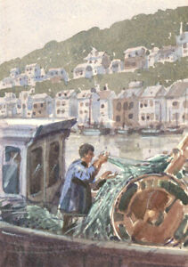 C-H-Thompson-20th-Century-Watercolour-Fishermen-in-Harbour