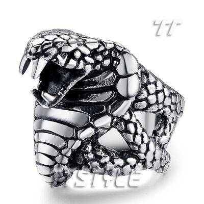High Quality TT 316L Stainless Steel King Cobra Punk Ring (RZ86)