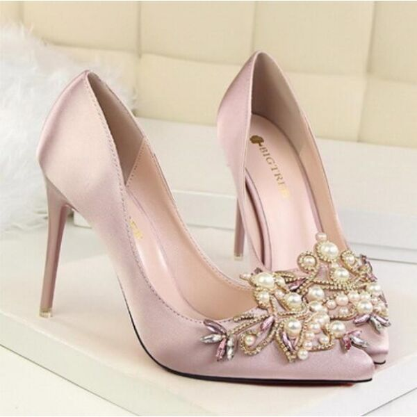 Pumps Damenschuhe elegant rosa Perlen Ferse 10 Stilett simil Leder CW111