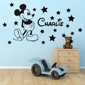 Image is loading Personalised-Kids-Name-MICKEY-MOUSE-Stars-Disney-Vinyl-  sc 1 st  eBay & Personalised Kids Name MICKEY MOUSE + Stars Disney Vinyl Wall Art ...
