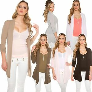donna-base-maglione-cardigan-giacca-TURN-FINO-MANICHE-CINTURA-S-34-36-leggero