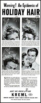 adl4 100% True 1941 Kremel Men's Hair Tonic Holliday Hair Vintage Photo Print Ad Collectibles