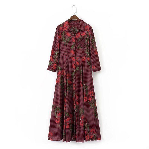 f58c45eaa031 Elegante vestito abito lungo morbido red fiori scampanato maniche lunghe  4012