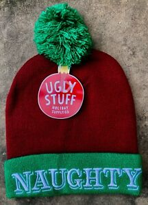 7972ec2d027 NEW Ugly Stuff Holiday Supply Co Naughty Red Green White Pom Pom Hat ...