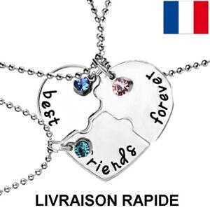 Collier-Pendentif-Best-Friends-3-Colliers-Strass-Amies-Coeur-Amitie-Necklace