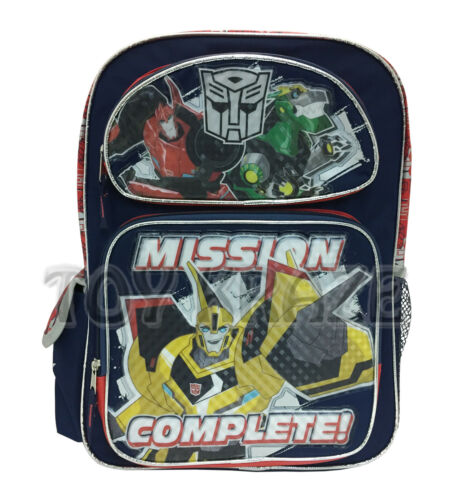 """NAVY BLUE MISSION COMPLETE LARGE BOYS SCHOOL BAG 16/"""" NWT TRANSFORMERS BACKPACK"""