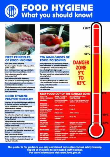 Buy one get one FREE Health and Safety FOOD HYGIENE A4 POSTER