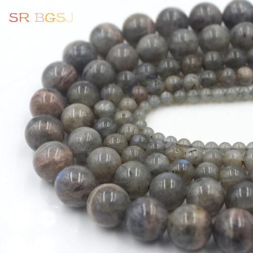 "Redondo Natural Gemstone Gris Labradorita granos Strand 15/"" 4mm 6mm 8mm 10mm 12mm"
