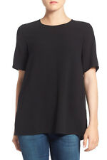 NEW Eileen Fisher Silk Crepe Round Neck Boxy Top- Black S $248