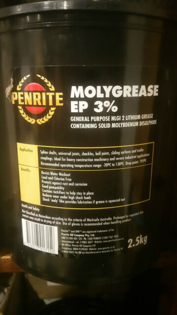PENRITE MOLY GREASE EP 3% NLGI 2 LITHIUM SOAP BASED GREASE 2.5KGS TUB BULK SIZE