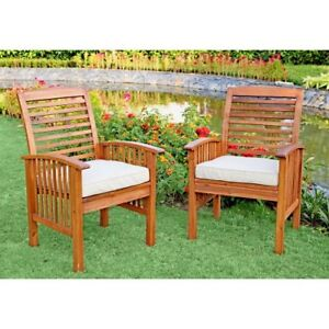 Walker Edison Wood Patio Chairs Set Of 2 Brown