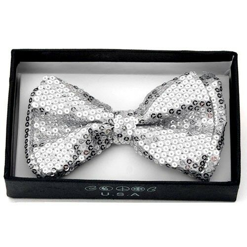 Unisex Pretied Bow tie Wedding Prom Tuxedo Sparkle  ~ Silver Sequins BOT505