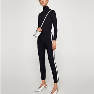 Zara TRF black trousers with white trim
