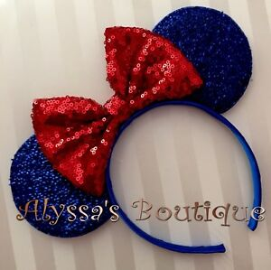 731cc1b32 Details about Minnie Mouse Sparkly Blue Ears Headband Big Red Sequin Bow  Snow White Inspired