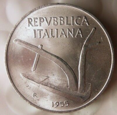 FREE SHIPPING Collectible Coin 1955 ITALY 10 LIRE AU Italy Bin #B