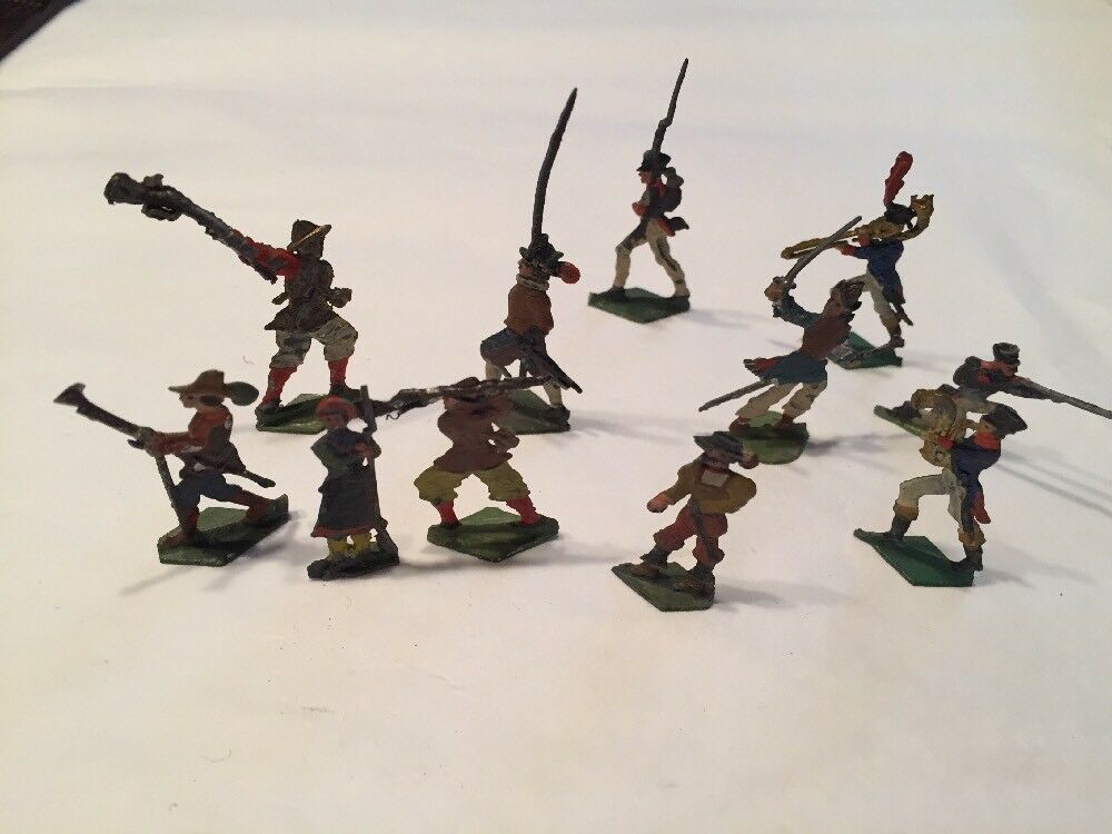 """11 Antique Tin Lead Soliders 1 1 2"""" Double Sided Painted"""