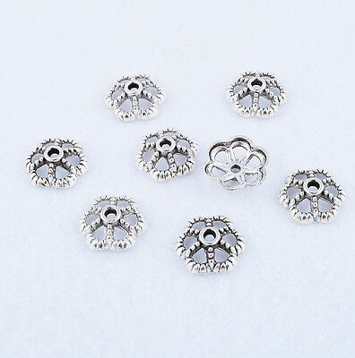 Lots Tibetan silver Flower Bead Caps Last End Jewelry Findings Various Size DIY