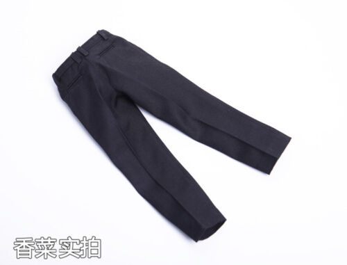 1//6 Men/'s Black Trousers Pants Costume With Belt Fit 12/'/' Solider Figure