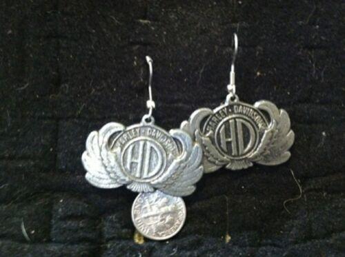 vintage Harley Davidson biker pewter earrings over 30 years old 005