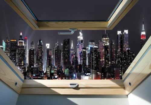 VLIES   Fototapete XXL Stadt bei Nacht Fensterblick Tapete Vliestapete 15F028748