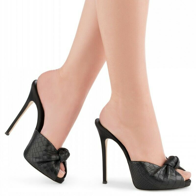 Zapatillas de Mujer Dama stilitto Con Moño Talla Plus Zapatos Taco Alto Boca De Pez