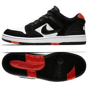 23cfc778d3a22 Details about Nike SB Air Force II Low 'Bred' AO0300-006  Black/White/Habanero Red Men's Shoes