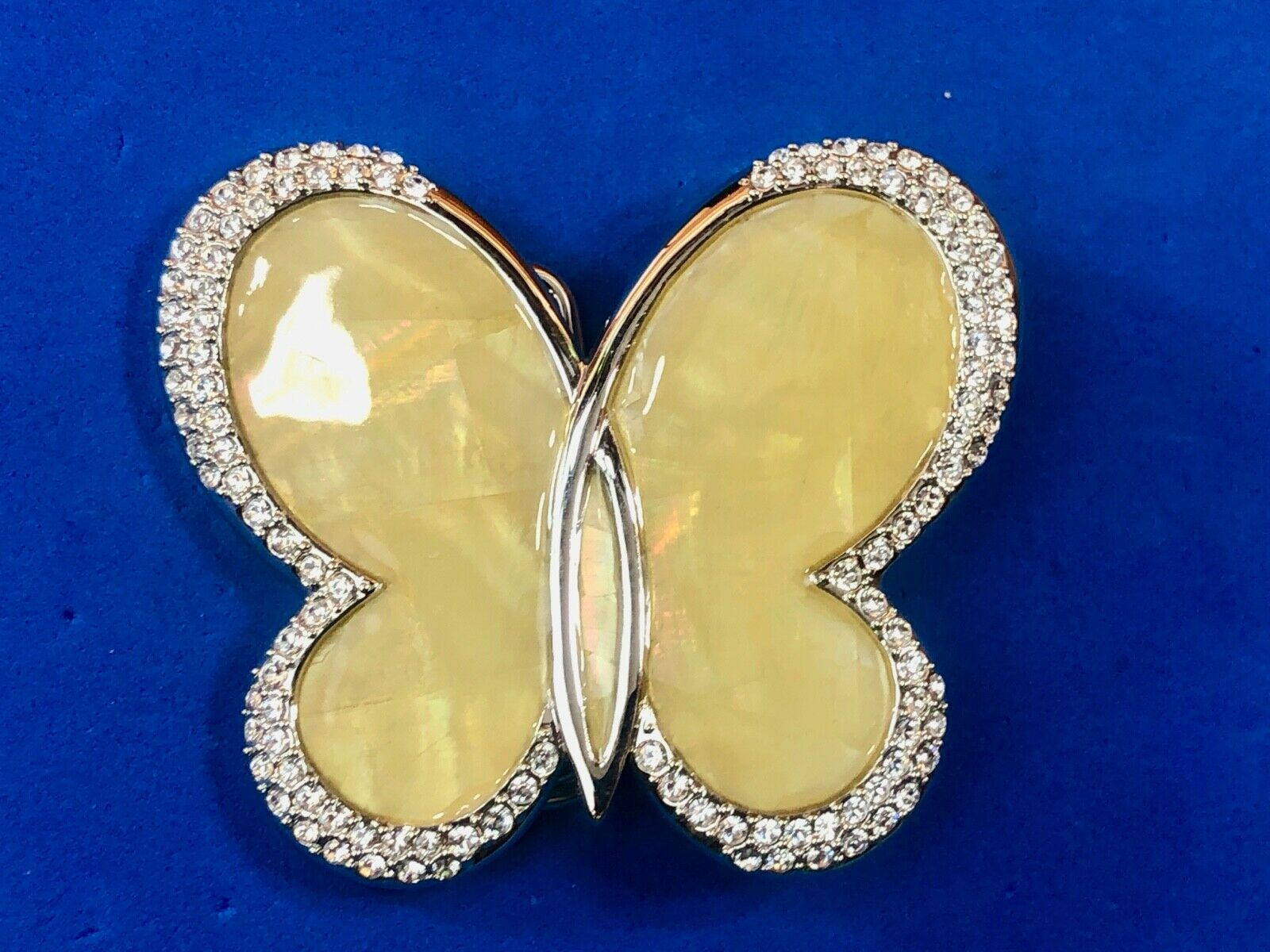 Adorable small yellow figural Women's butterfly Belt Buckle w/ rhinestones
