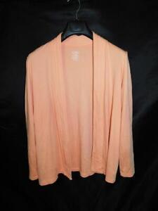 LL-Bean-L-Peach-Pink-Cardigan-Shirt-Supima-Cotton-Long-Sleeve-Open-Front-Lg