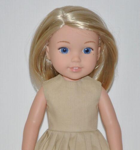 Khaki Tan Dress Fits American Girl Wellie Wisher Doll Clothes