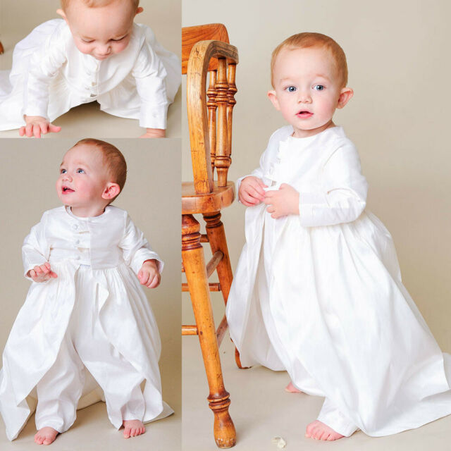 New Born Baby Boy Toddler Christening Baptism Stole Gown Suit 0-30M White Silver