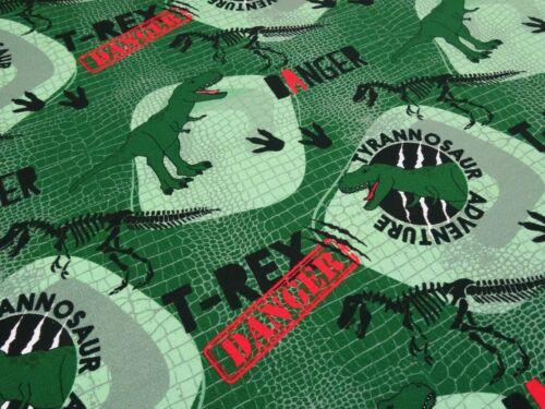 Stoff Baumwolle French Terry Sweatshirtstoff Dinos Dinosaurier grün rot schwarz