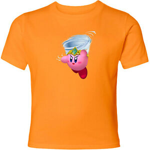 Nintendo-Super-Star-Kirby-Tornado-Men-Women-Video-Game-Crew-Neck-Unisex-T-Shirt